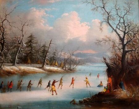 Indiens jouant à la Crosse sur la glace, Edmund Coates, 1859