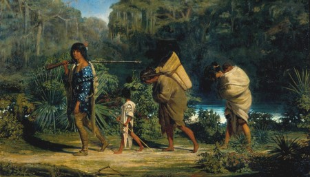 indiens_Alfred-Boisseau-Louisiana-Indians-Walking-Along-A-Bayou-1847