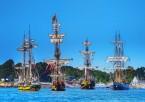 Grands voiliers devant l'île aux Moines : La Grace, Shtandart, Etoile du Roy, Le Français